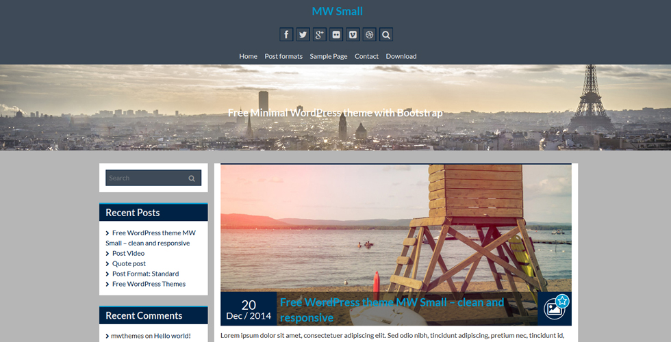 mw small beautiful free responsive wordpress theme up107