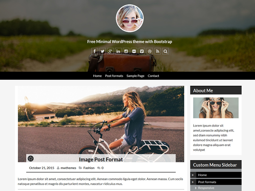Minimal & Personal Blogging WordPress MW Small Header Center