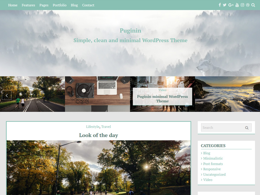 pugini minimal free wordpress theme 2017
