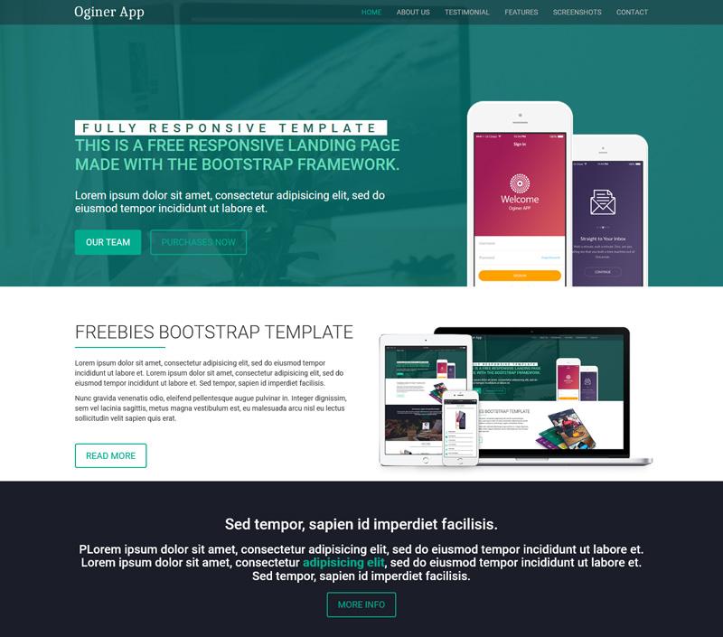 Oginer App Free WordPress Landing Page Theme - MWThemes